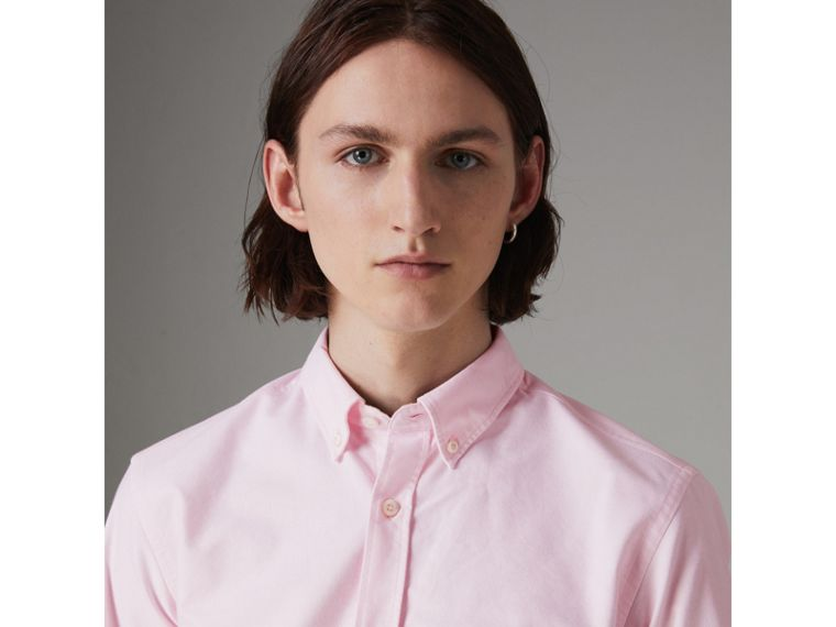 Check Detail Cotton Oxford Shirt in Pale Pink - Men | Burberry United Kingdom - cell image 1