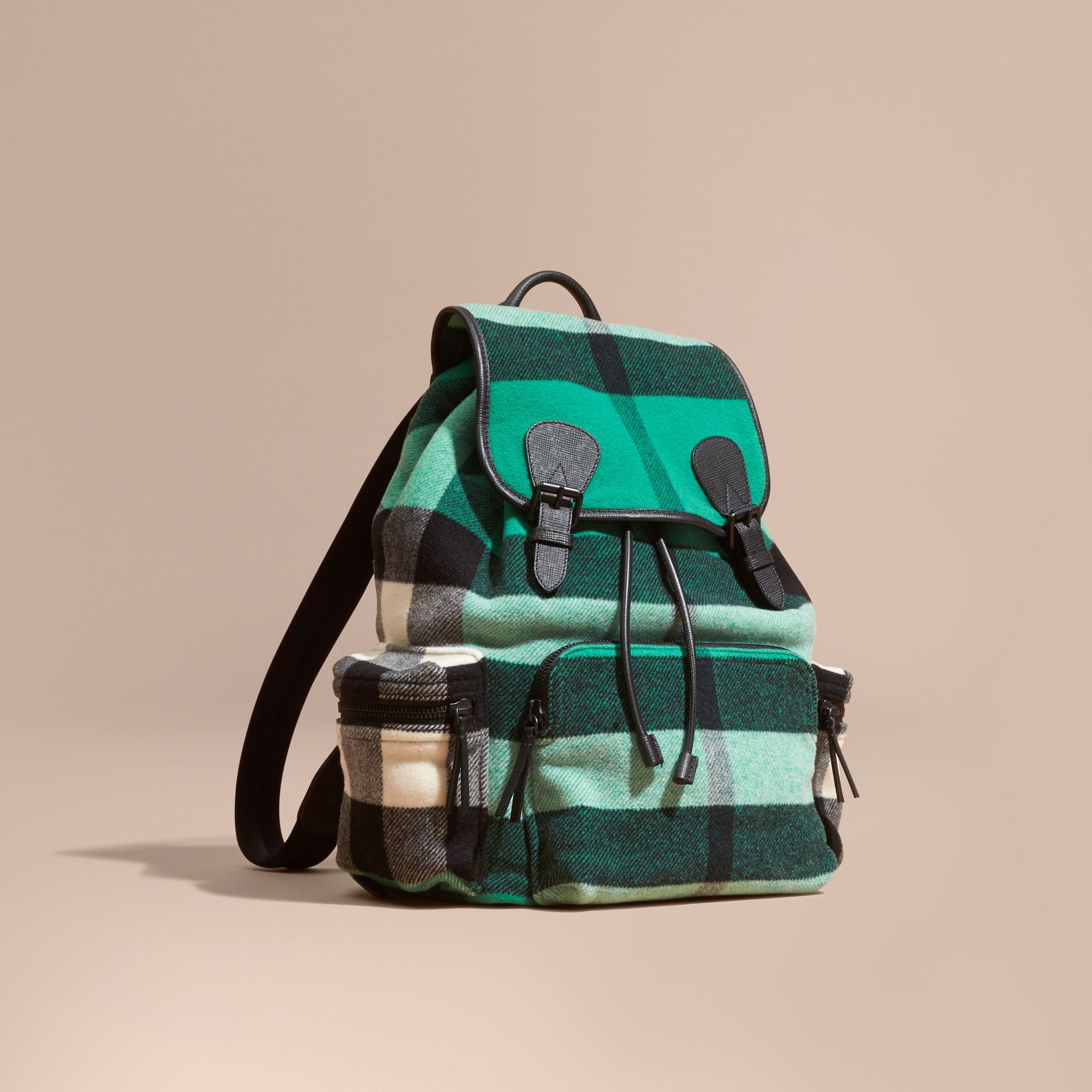 Emerald The Large Rucksack in Check Wool Blend and Leather Emerald - gallery image 1