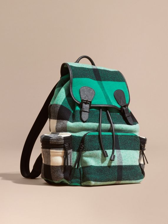 The Large Rucksack in Check Wool Blend and Leather Emerald