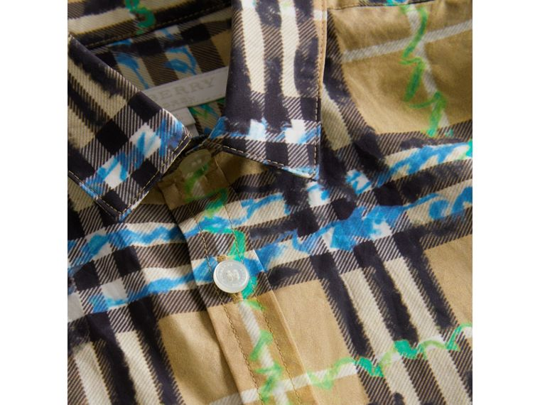 Short-sleeve Scribble Check Cotton Shirt in Bright Blue - Boy | Burberry - cell image 1
