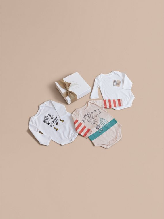 Printed Cotton Three-piece Baby Gift Set | Burberry Australia