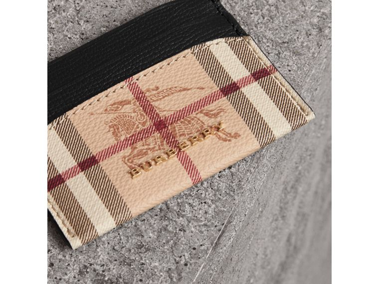 Haymarket Check and Leather Card Case in Black - Women | Burberry - cell image 1
