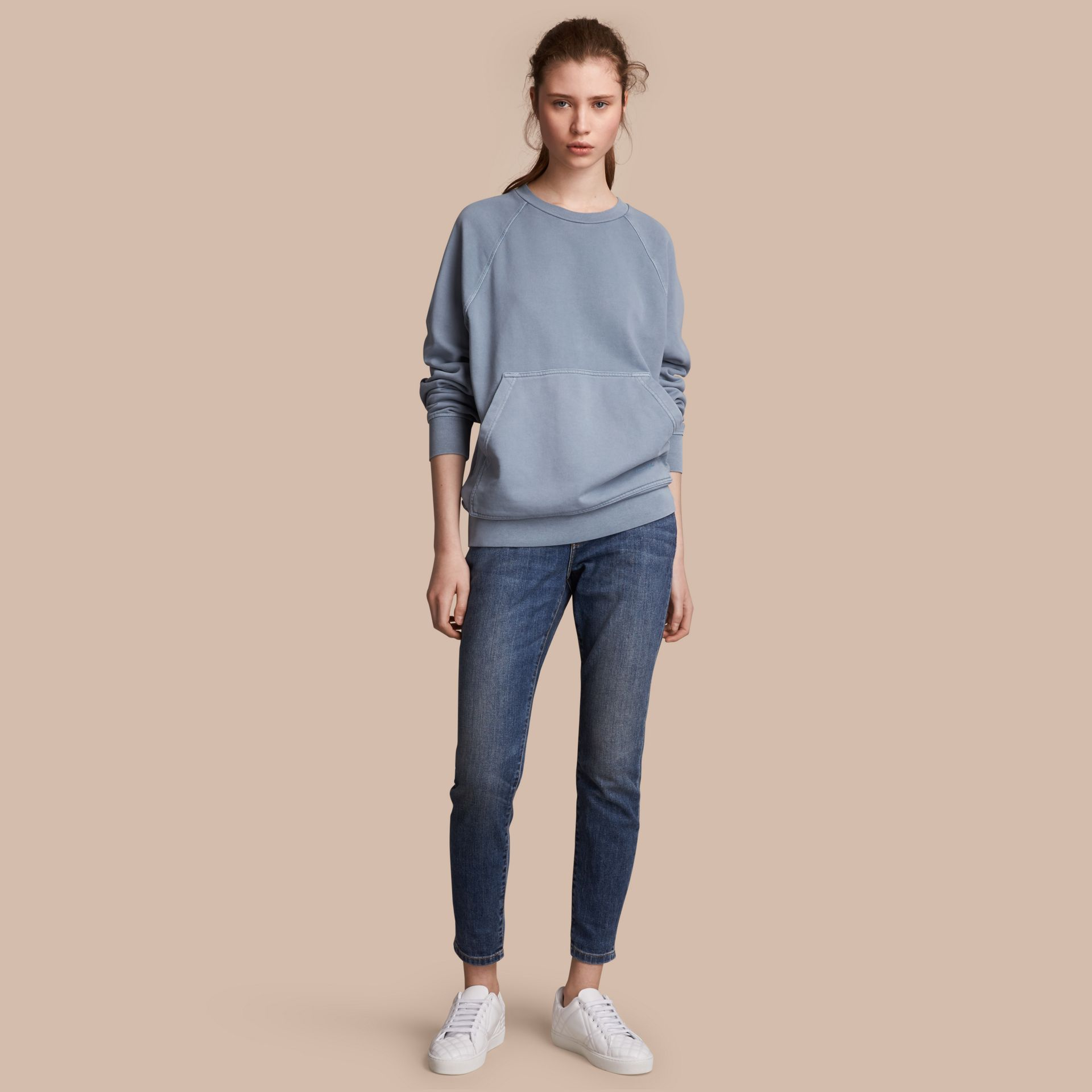 Unisex Pigment-dyed Cotton Oversize Sweatshirt in Dusty Blue - Women | Burberry Australia - gallery image 1