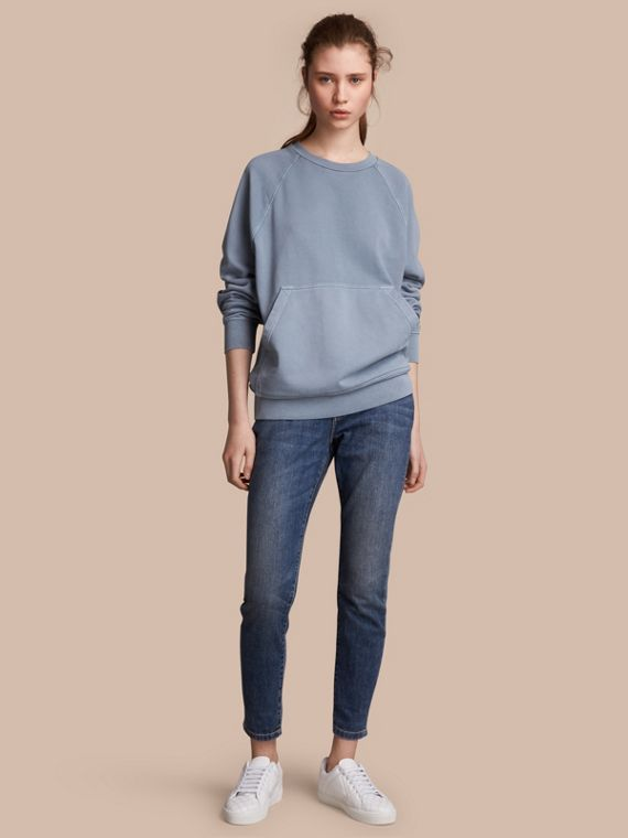 Unisex Pigment-dyed Cotton Oversize Sweatshirt in Dusty Blue