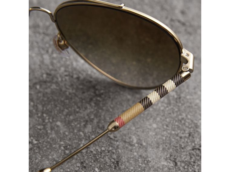 Check Detail Mirrored Pilot Sunglasses in Nude - Women | Burberry - cell image 1