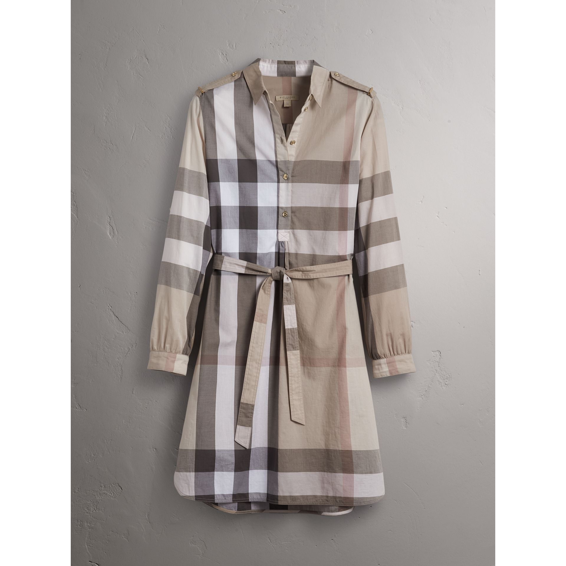 Check Cotton Shirt Dress in Pale Stone - Women | Burberry - gallery image 4