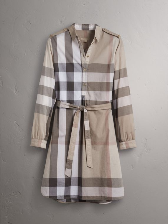 Check Cotton Shirt Dress in Pale Stone - Women | Burberry Hong Kong - cell image 3