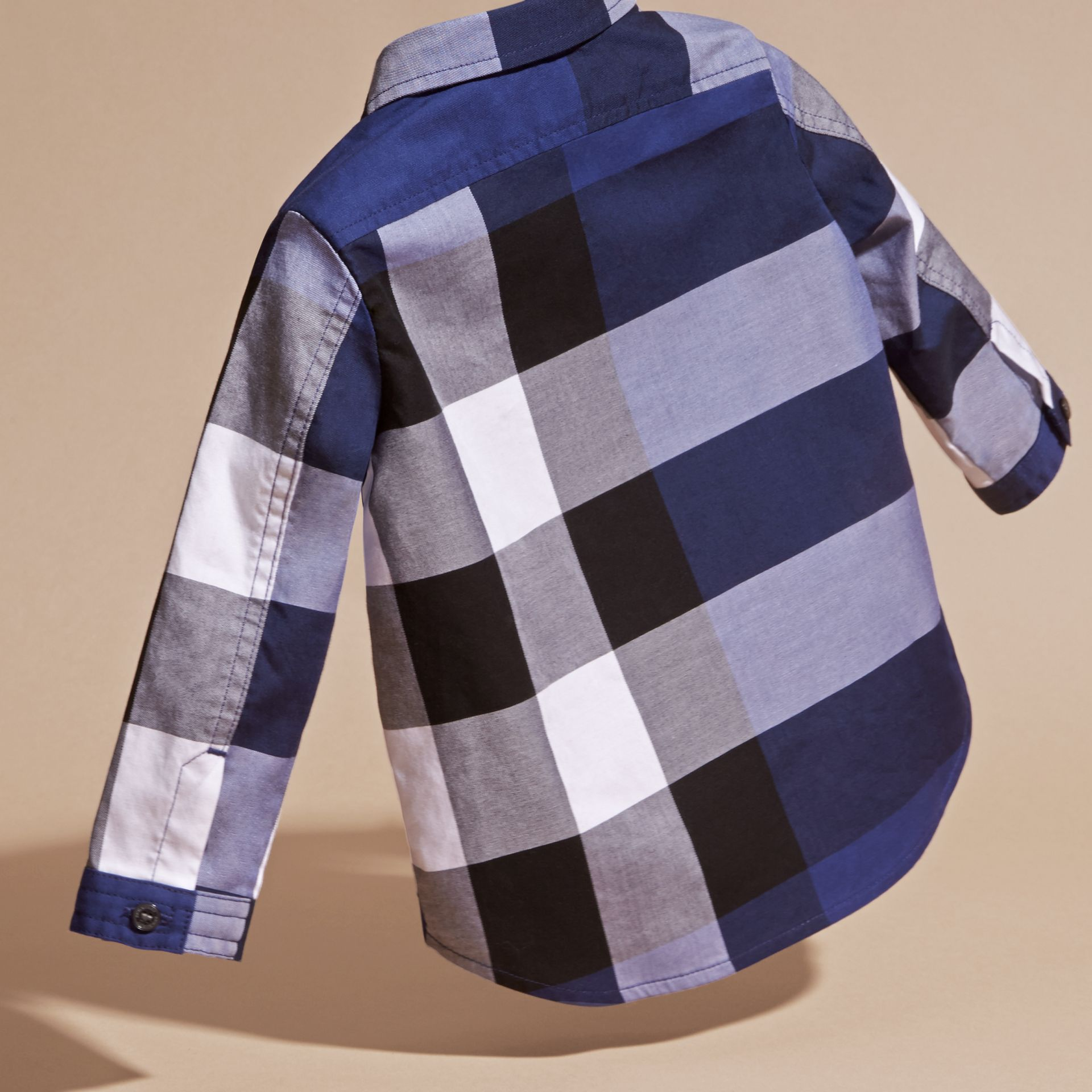 Bright navy blue Check Cotton Shirt Bright Navy Blue - gallery image 4