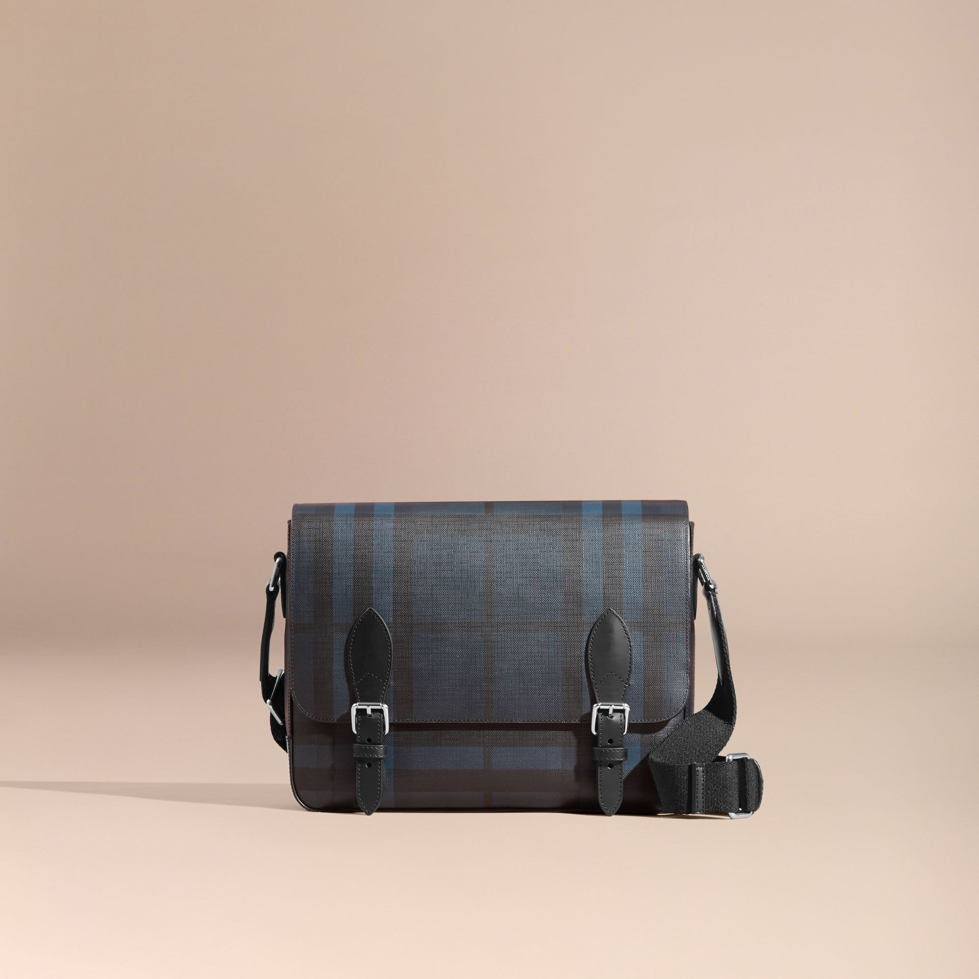 Medium Leather Trim London Check Messenger Bag in Navy/black - Men | Burberry - gallery image 8