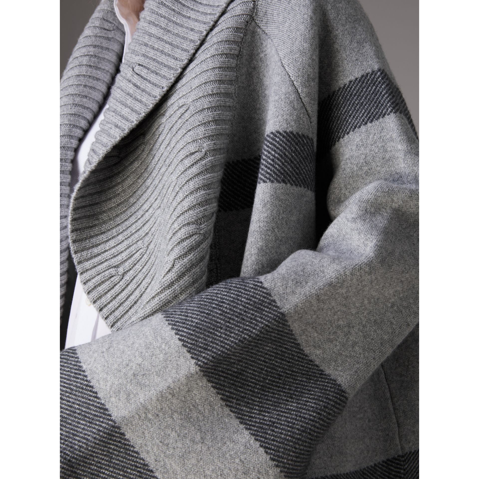 Check Wool Cashmere Blend Cardigan Coat in Pale Grey Melange - Women | Burberry Australia - gallery image 1