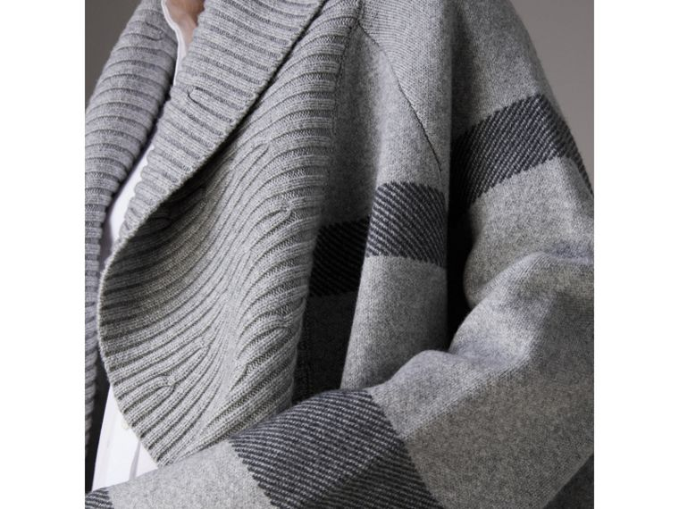 Check Wool Cashmere Blend Cardigan Coat in Pale Grey Melange - Women | Burberry United Kingdom - cell image 1
