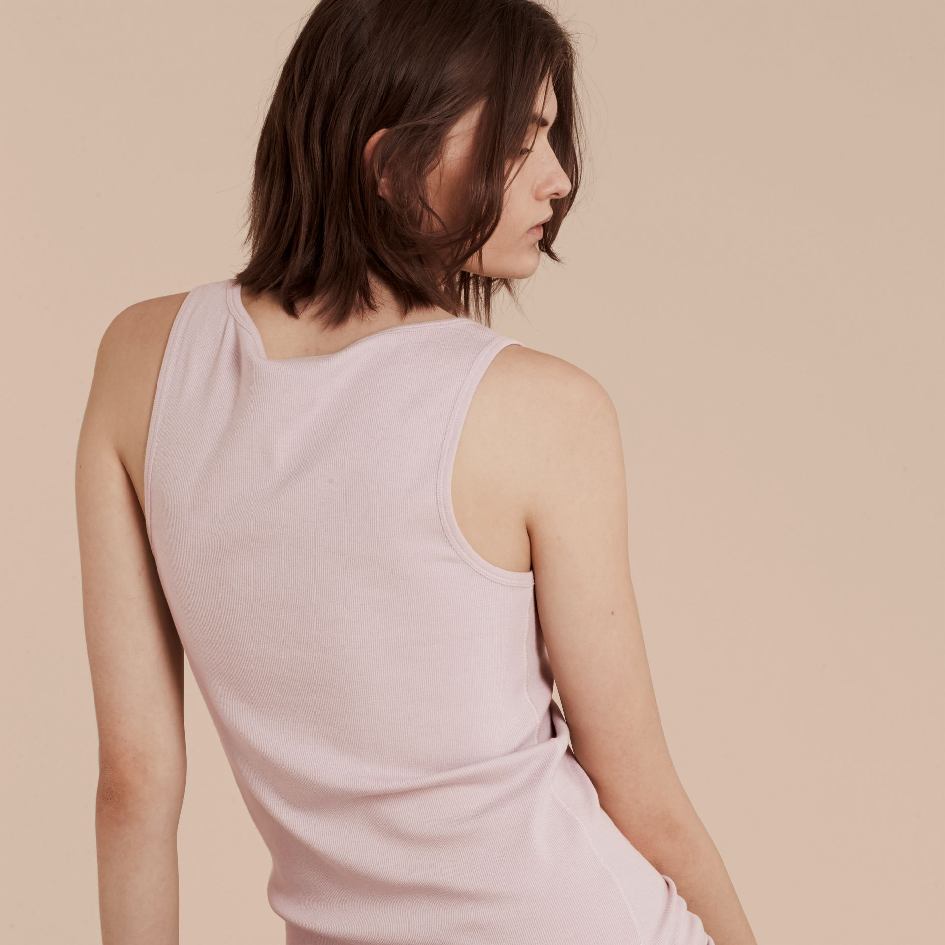 Stretch Cotton Lyocell Vest in Pale Pink - gallery image 3