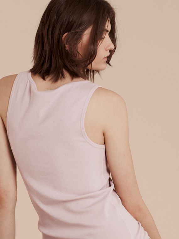 Stretch Cotton Lyocell Vest in Pale Pink - cell image 2