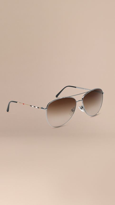 Nickel Check Arm Aviator Sunglasses Nickel - Image 1