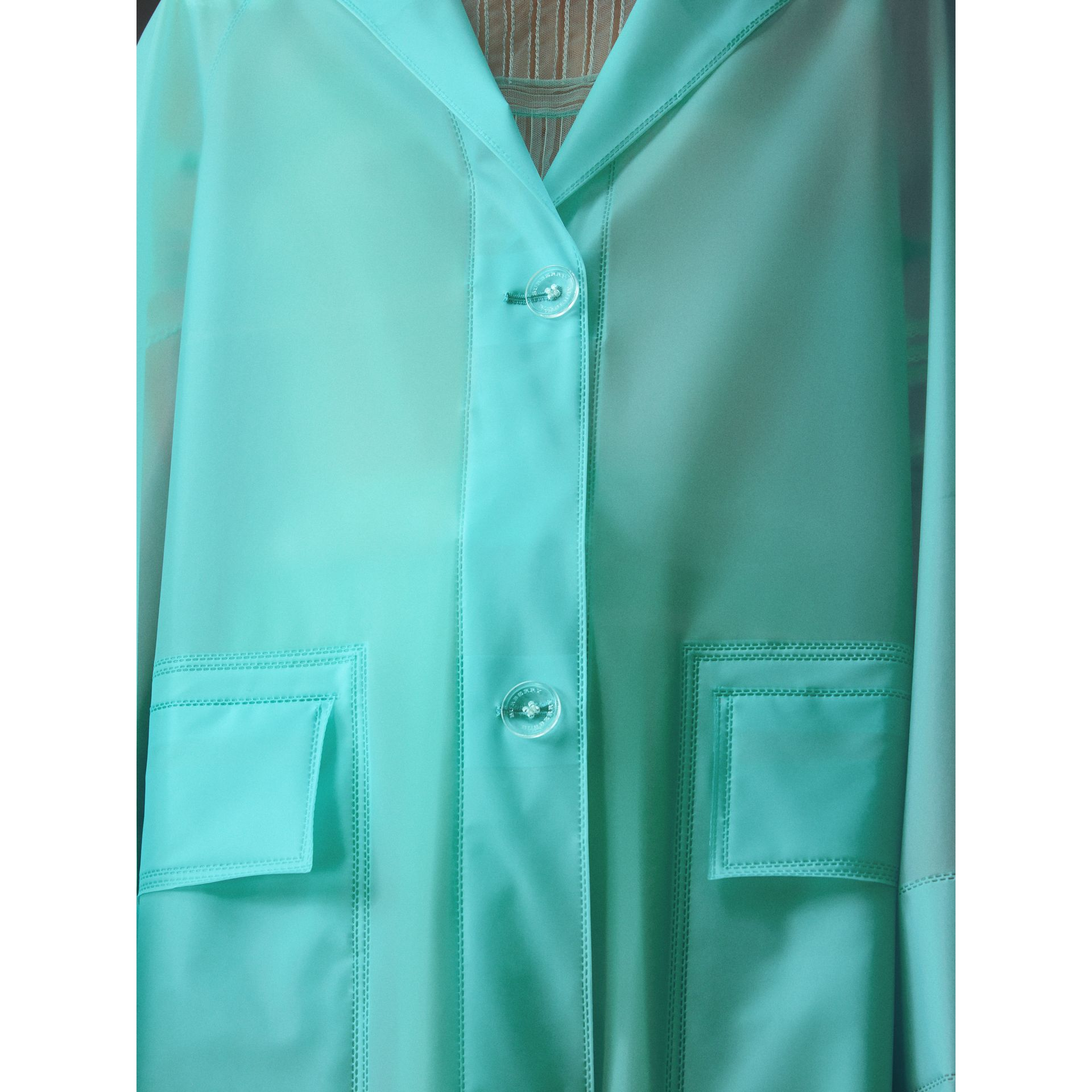 Soft-touch Plastic Car Coat in Turquoise - Women | Burberry - gallery image 2