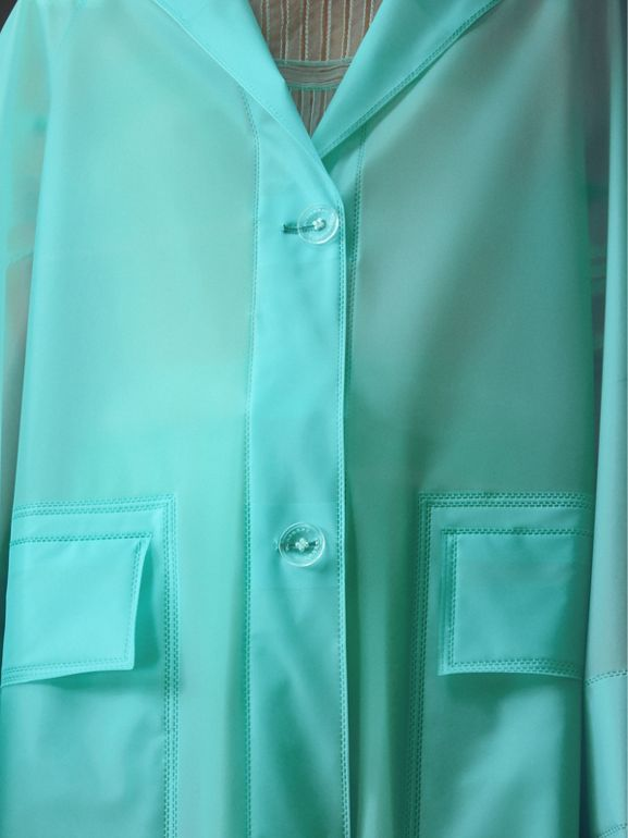 Soft-touch Plastic Car Coat in Turquoise - Women | Burberry - cell image 1