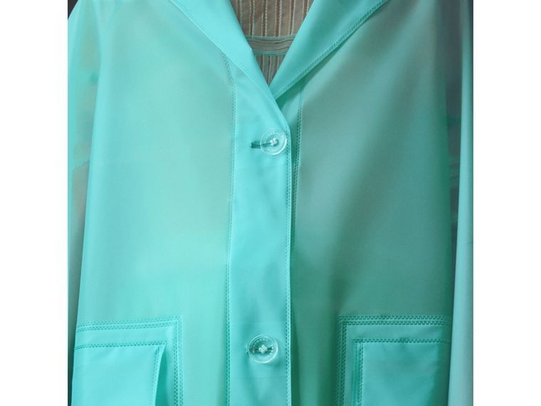 Soft-touch Plastic Car Coat in Turquoise - Women | Burberry Australia - cell image 1