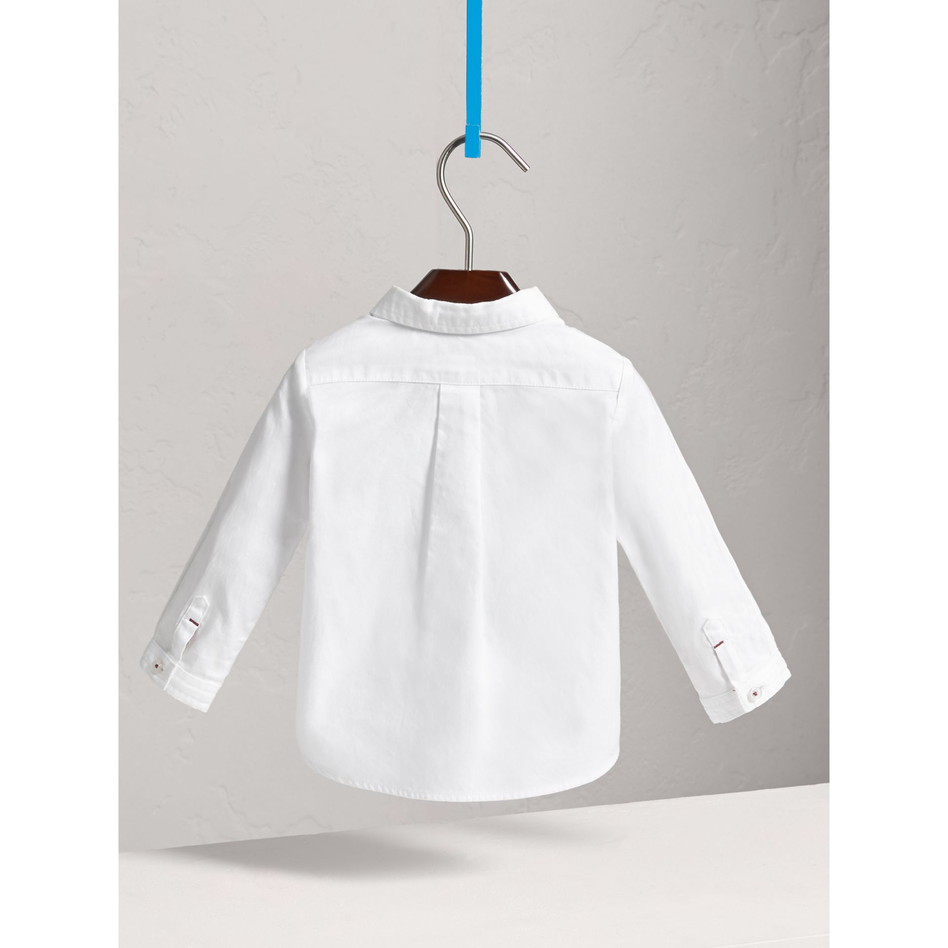 Button-down Collar Cotton Oxford Shirt in White - Children | Burberry - gallery image 3