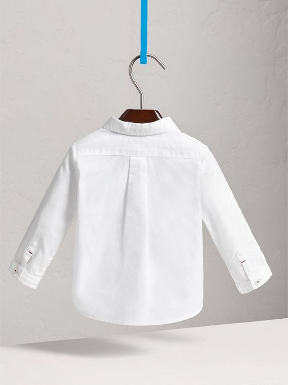 Button-down Collar Cotton Oxford Shirt in White | Burberry - cell image 3