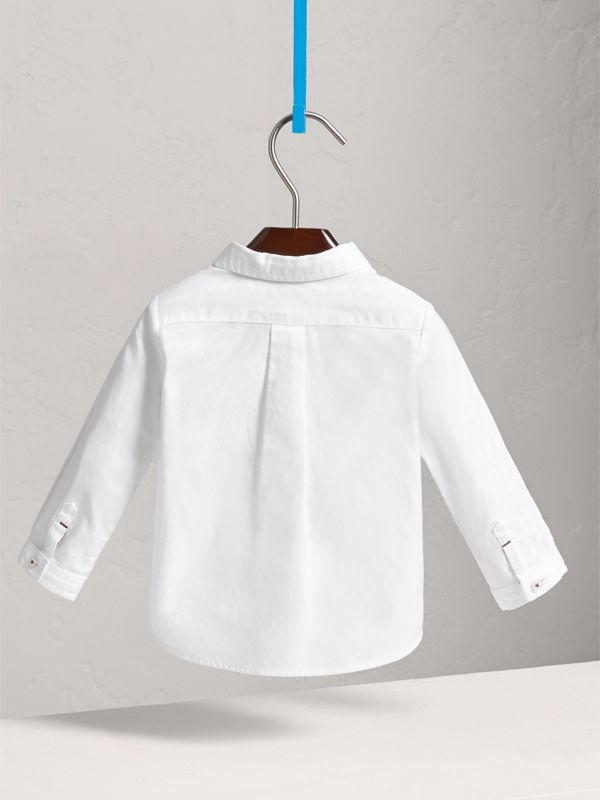 Button-down Collar Cotton Oxford Shirt in White - Children | Burberry - cell image 3