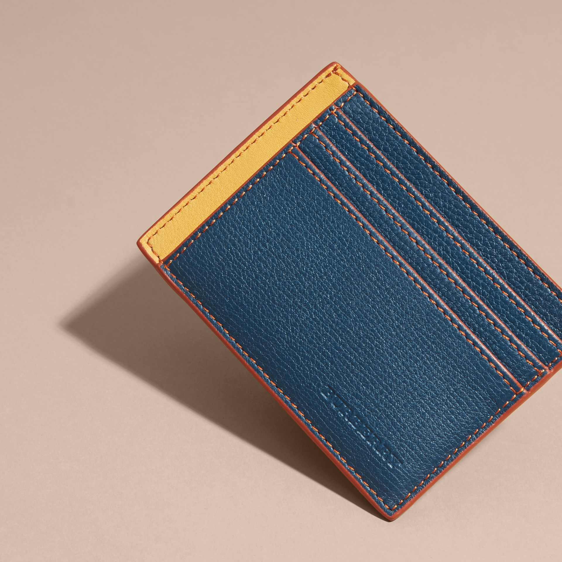 Marine blue Colour Block Leather Card Case Marine Blue - gallery image 3