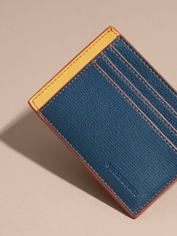 Marine blue Colour Block Leather Card Case Marine Blue - cell image 2