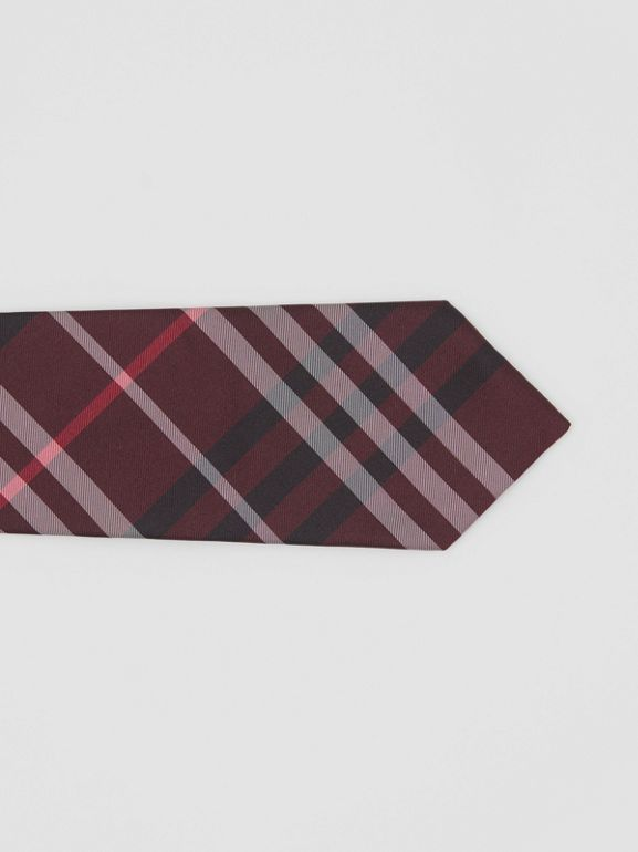 Classic Cut Vintage Check Silk Tie in Claret - Men | Burberry - cell image 1