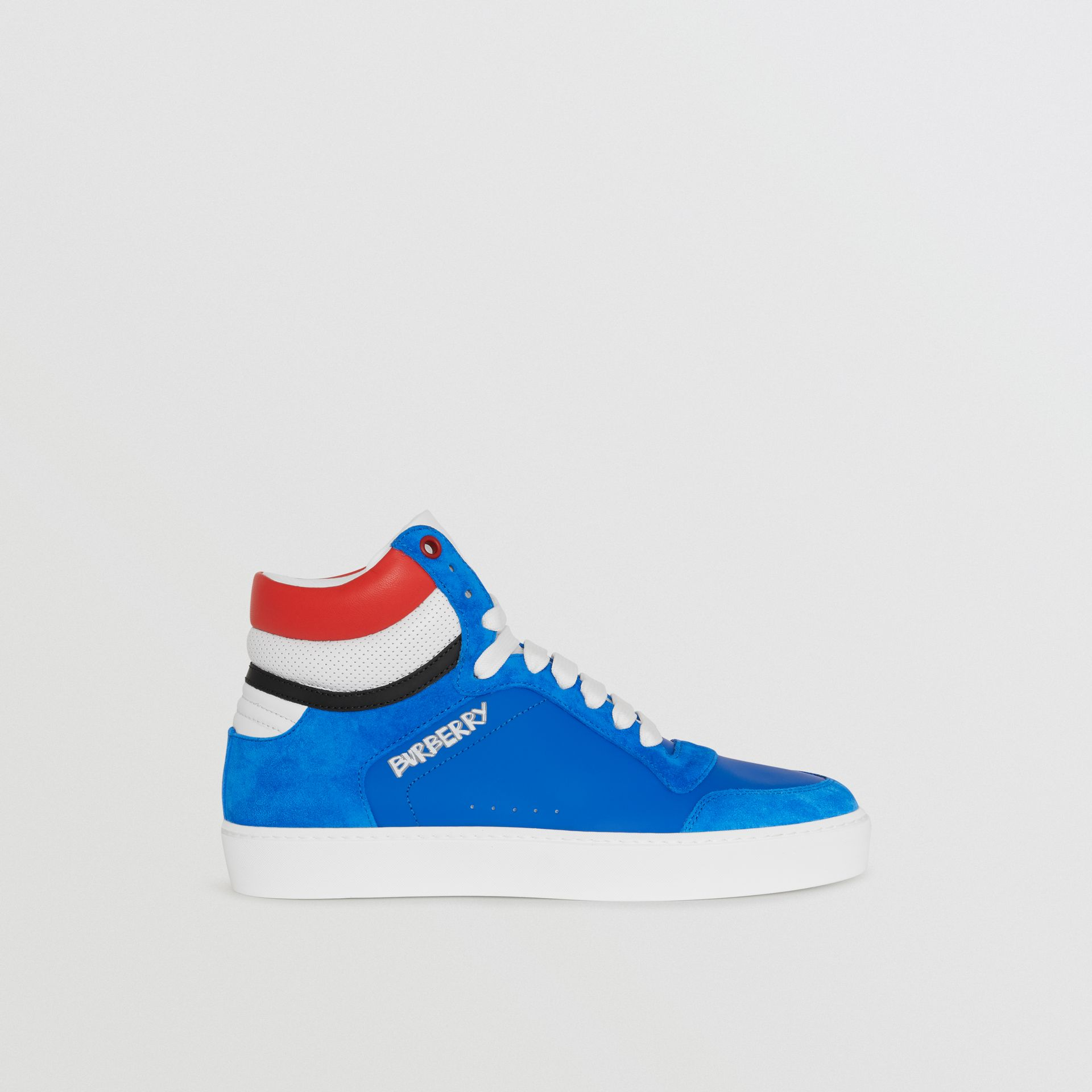 Leather and Suede High-top Sneakers in Bright Sky Blue - Women | Burberry - gallery image 4