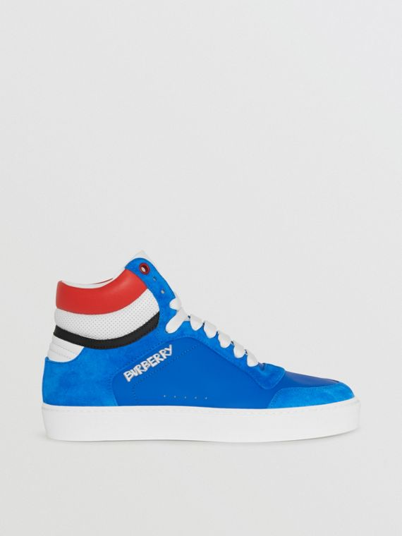 Leather and Suede High-top Sneakers in Bright Sky Blue