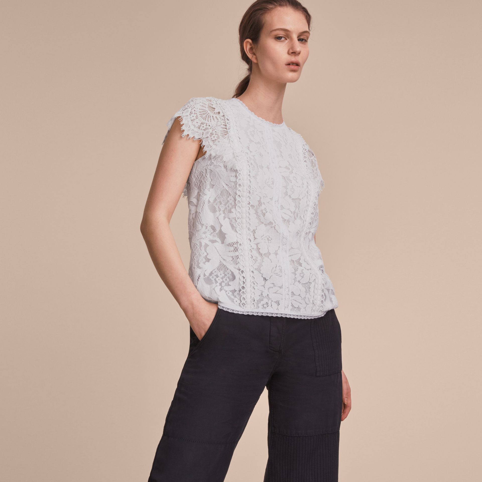 Scalloped Cap Sleeve Floral Lace Top - gallery image 6
