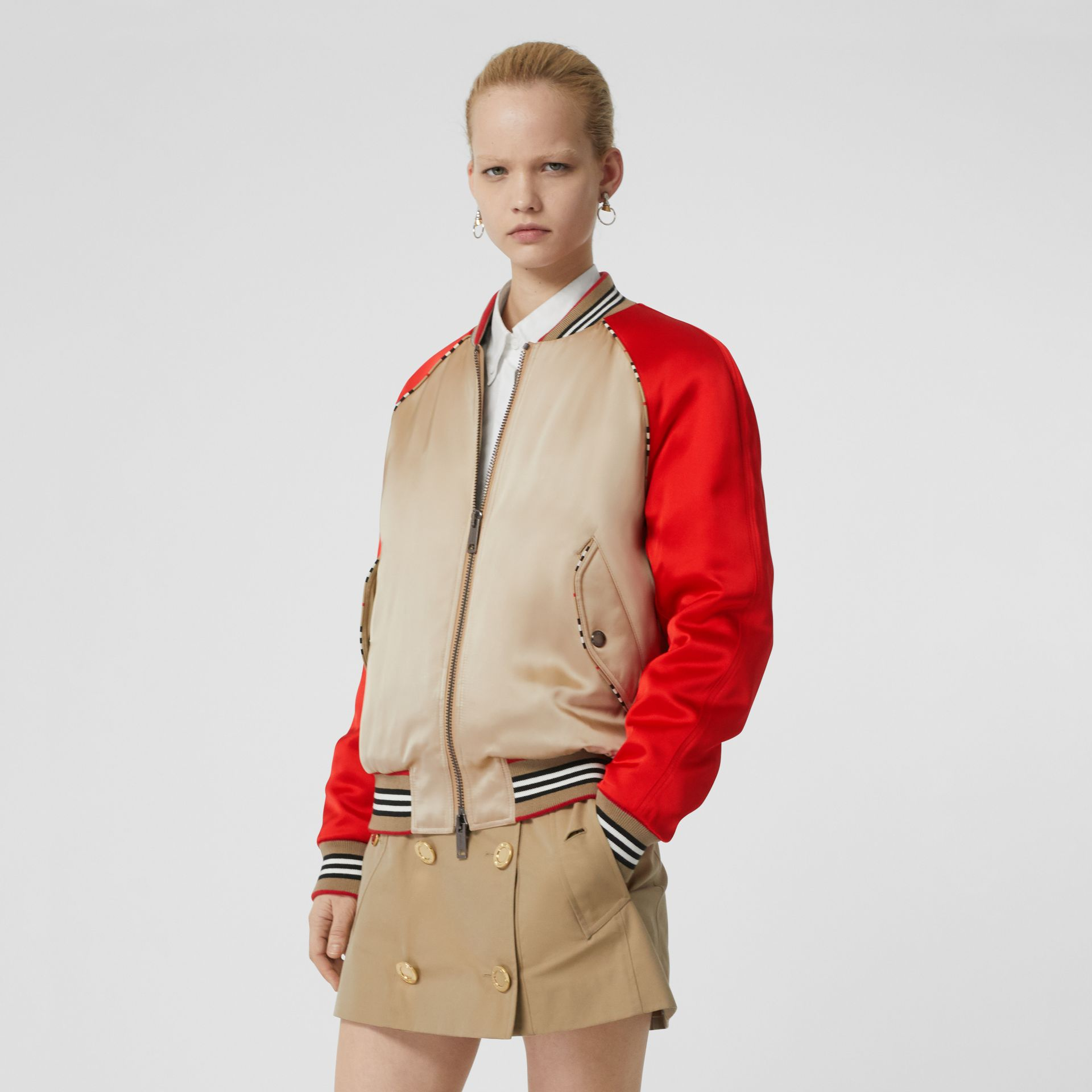 Icon Stripe Detail Monogram Motif Bomber Jacket in Honey/red - Women | Burberry Singapore - gallery image 0