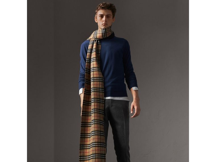 Check Jacquard Detail Cashmere Sweater in Navy - Men | Burberry - cell image 4