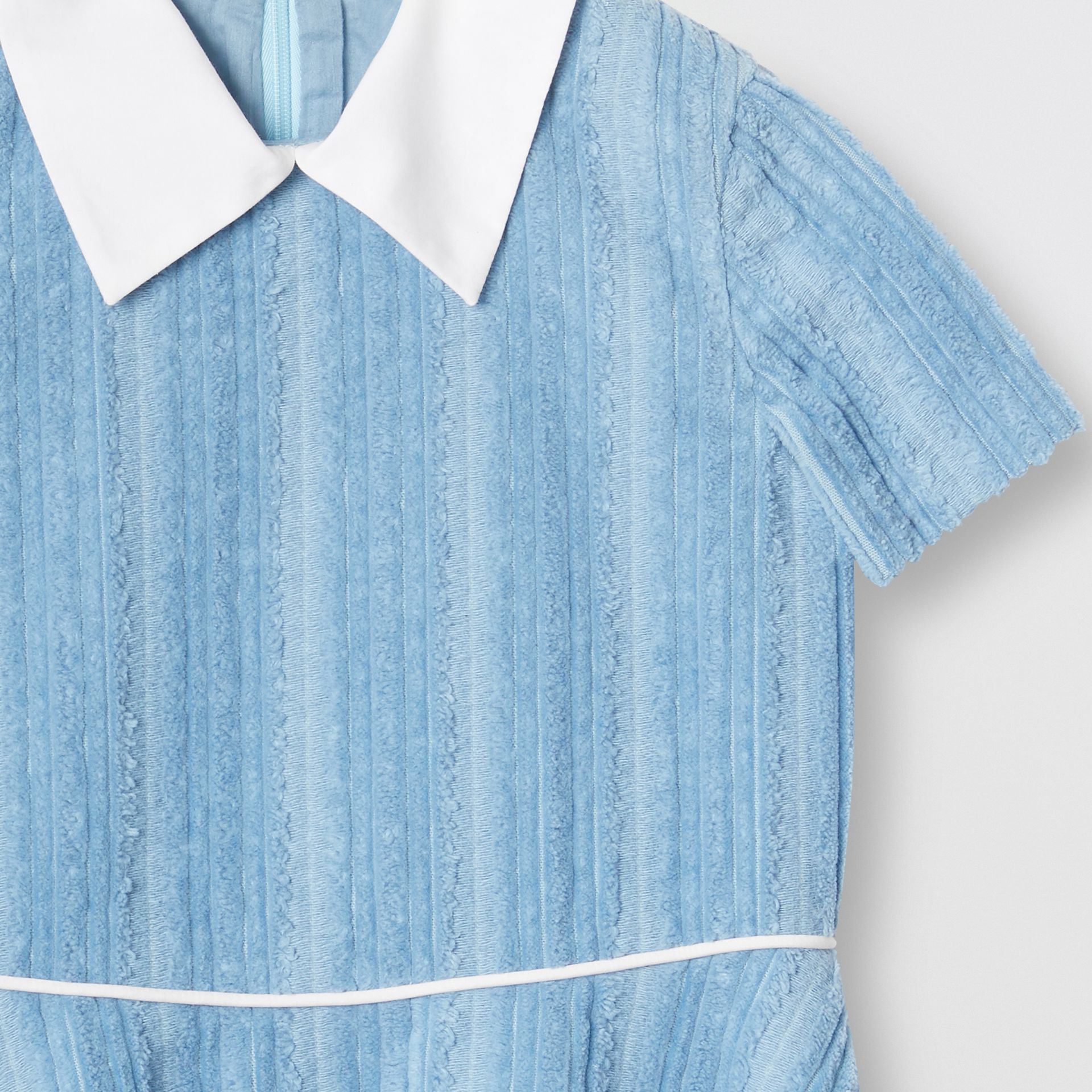 Peter Pan Collar Corduroy Dress in Powder Blue | Burberry - gallery image 4