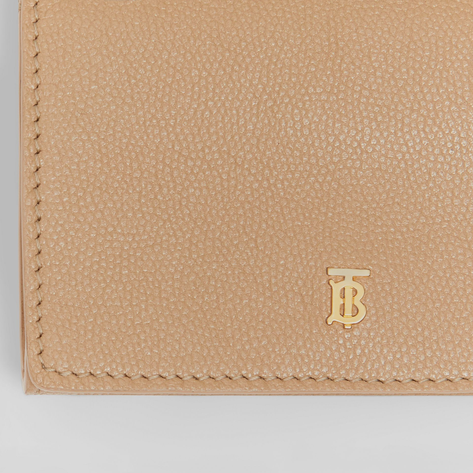 Small Grainy Leather Folding Wallet in Archive Beige - Women | Burberry Singapore - gallery image 1