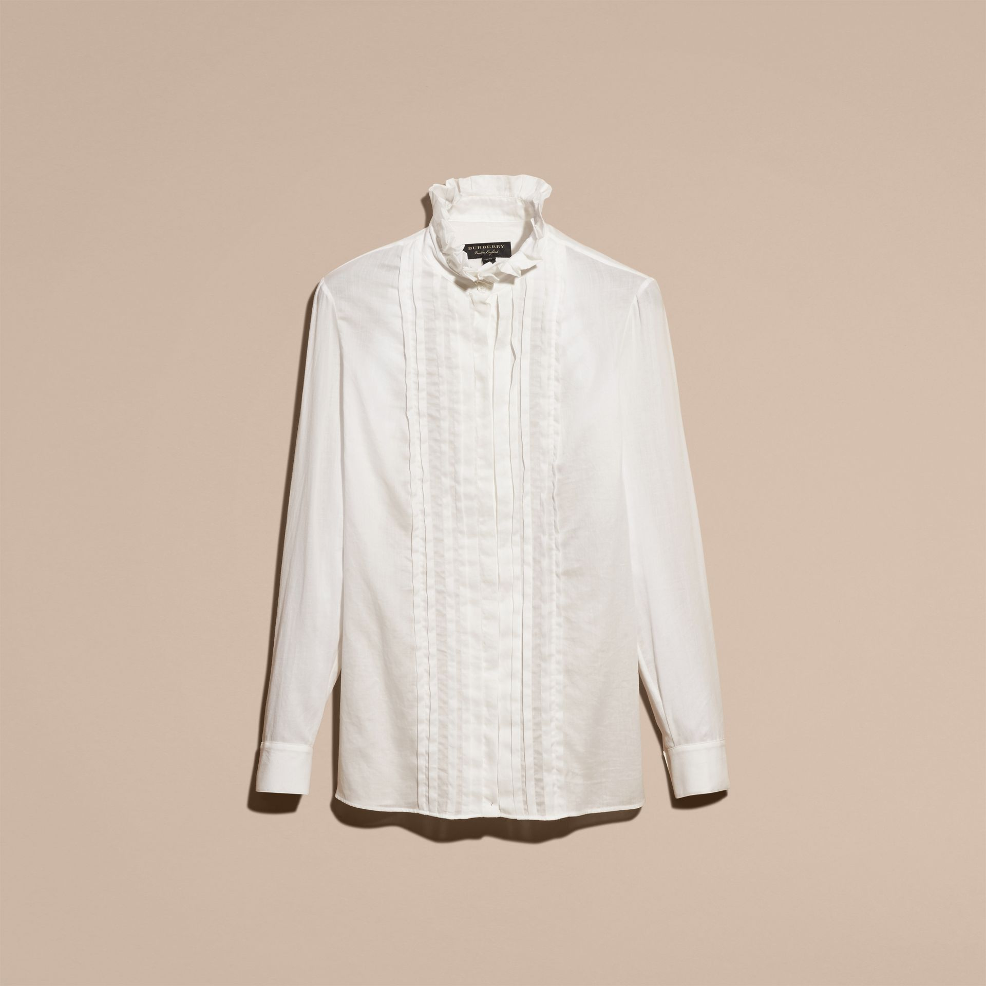 White Ruff Collar Cotton Tulle Shirt - gallery image 4