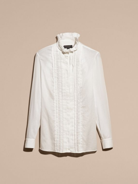 White Ruff Collar Cotton Tulle Shirt - cell image 3