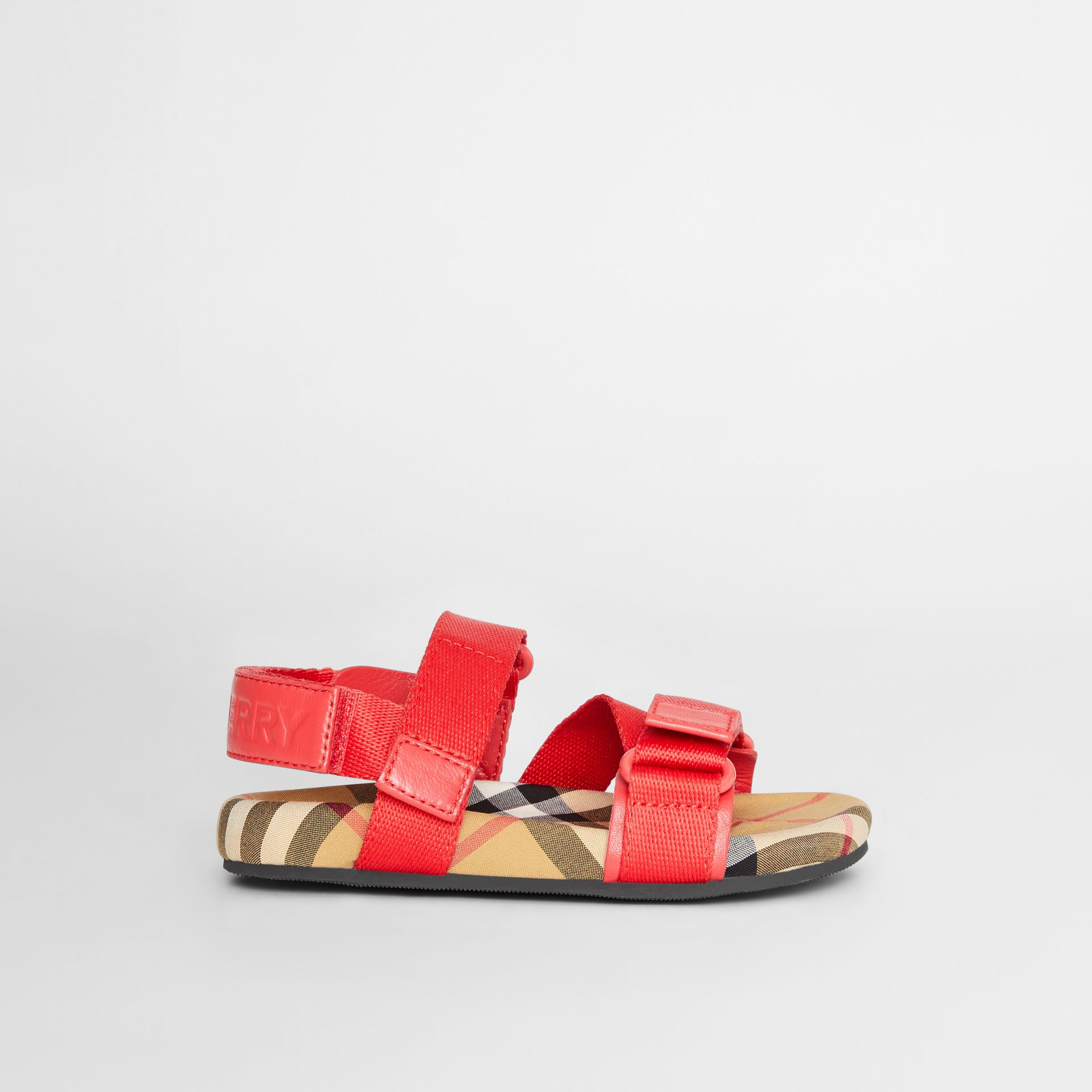 Ripstop Strap Vintage Check Cotton Sandals in Bright Red/antique Yellow - Children | Burberry Australia - gallery image 3