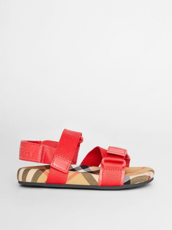 Ripstop Strap Vintage Check Cotton Sandals in Bright Red/antique Yellow - Children | Burberry Australia - cell image 3