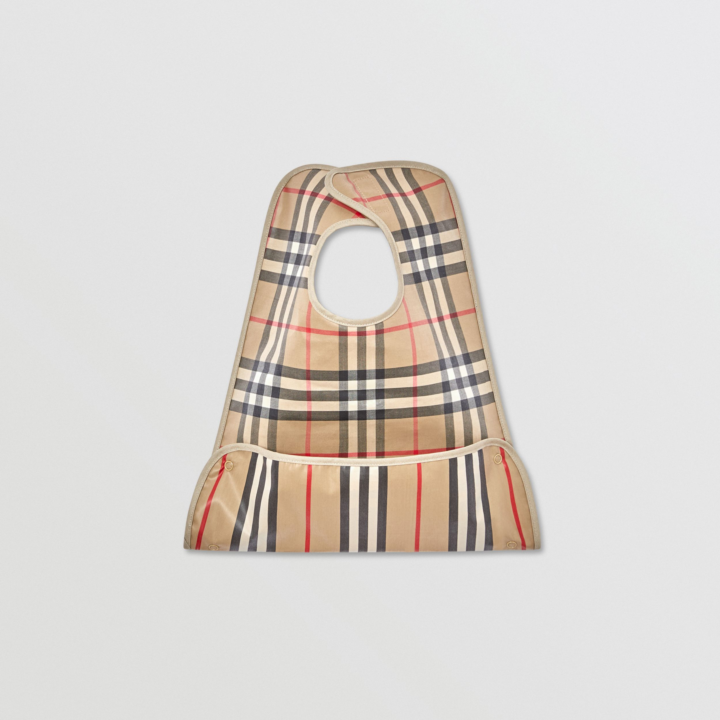 Coated Vintage Check and Icon Stripe Bib in Archive Beige - Children | Burberry - 1