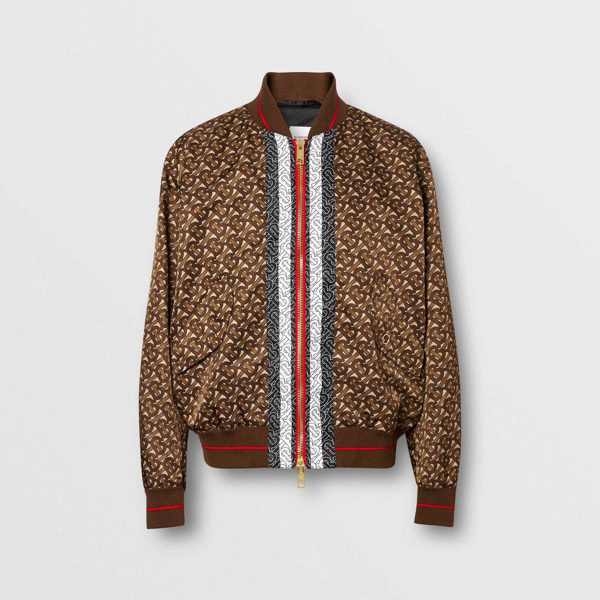 Monogram Stripe Print Nylon Bomber Jacket in Bridle Brown - Men | Burberry - gallery image 3