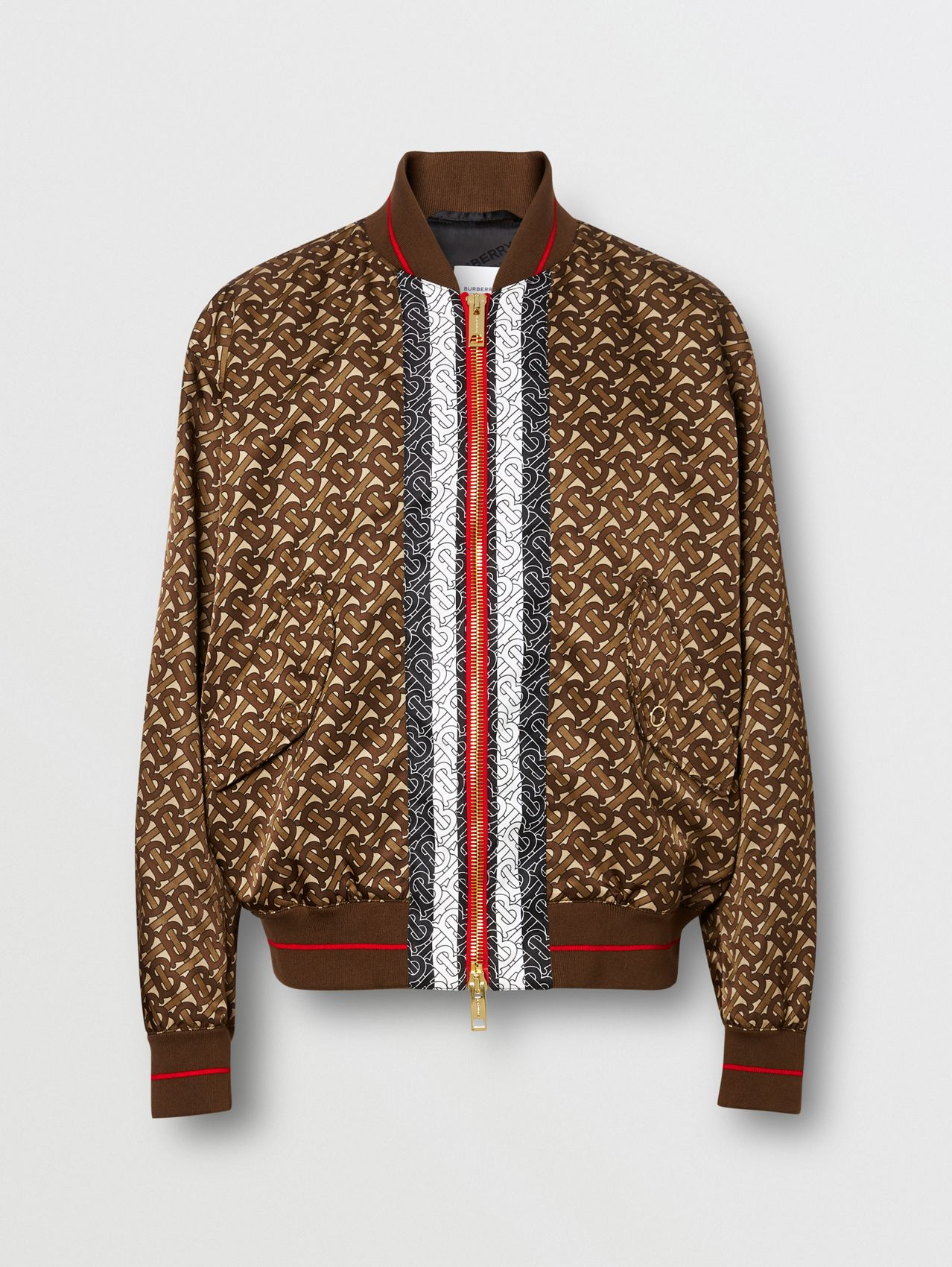 Monogram Stripe Print Nylon Bomber Jacket in Bridle Brown