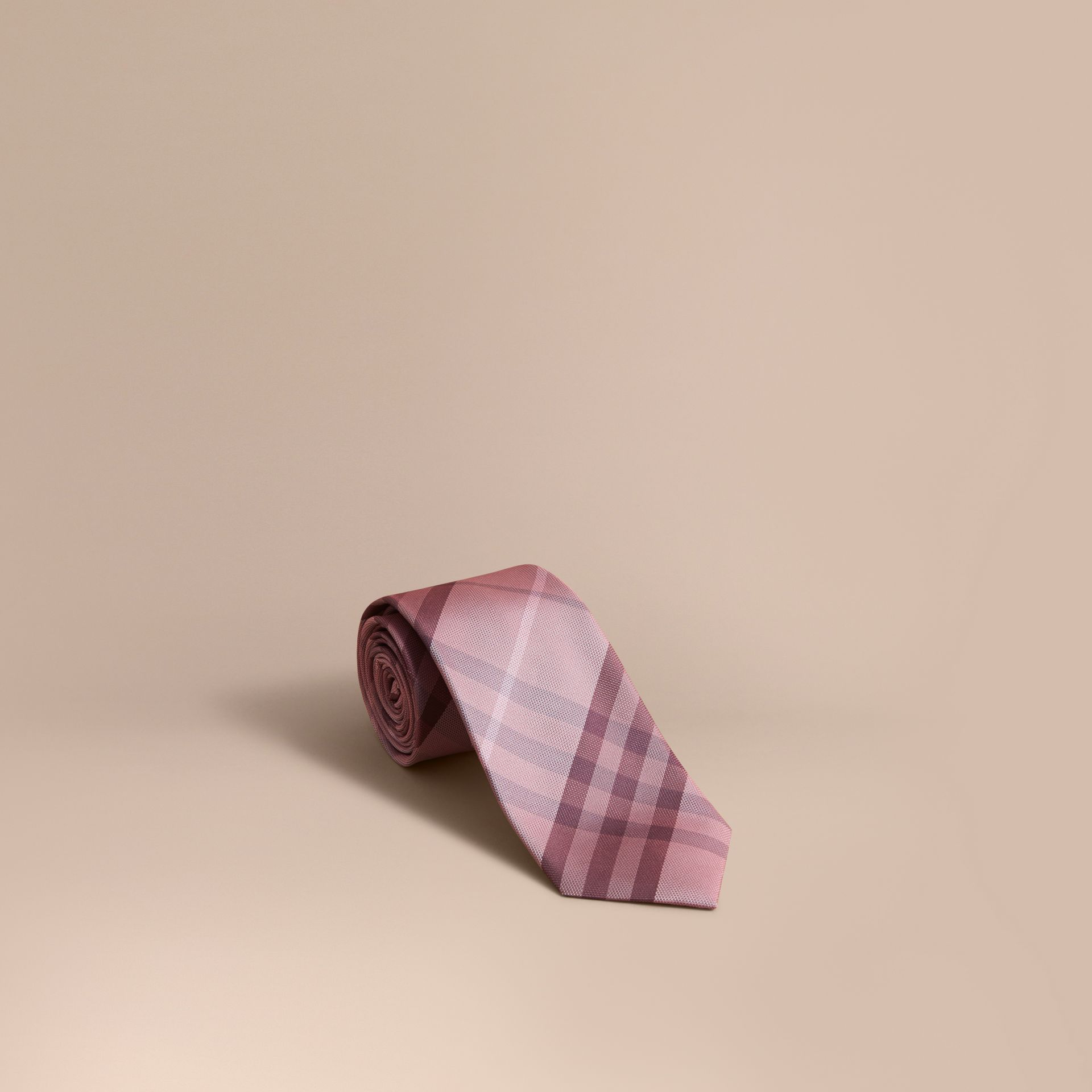 Modern Cut Check Silk Tie in Pink Heather - gallery image 1