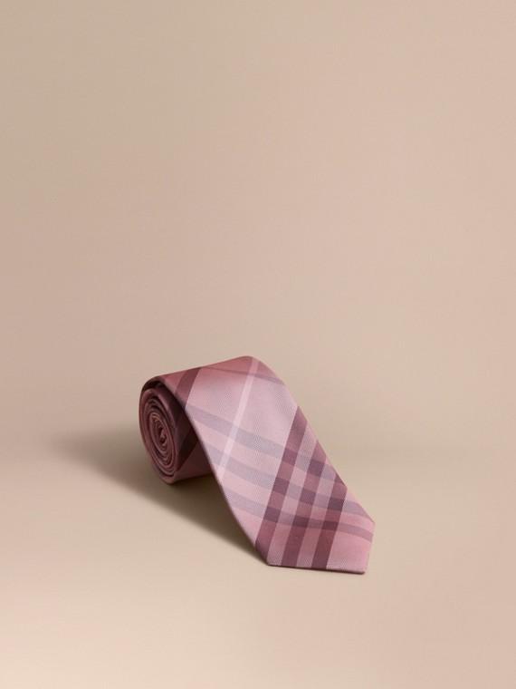 Modern Cut Check Silk Tie in Pink Heather