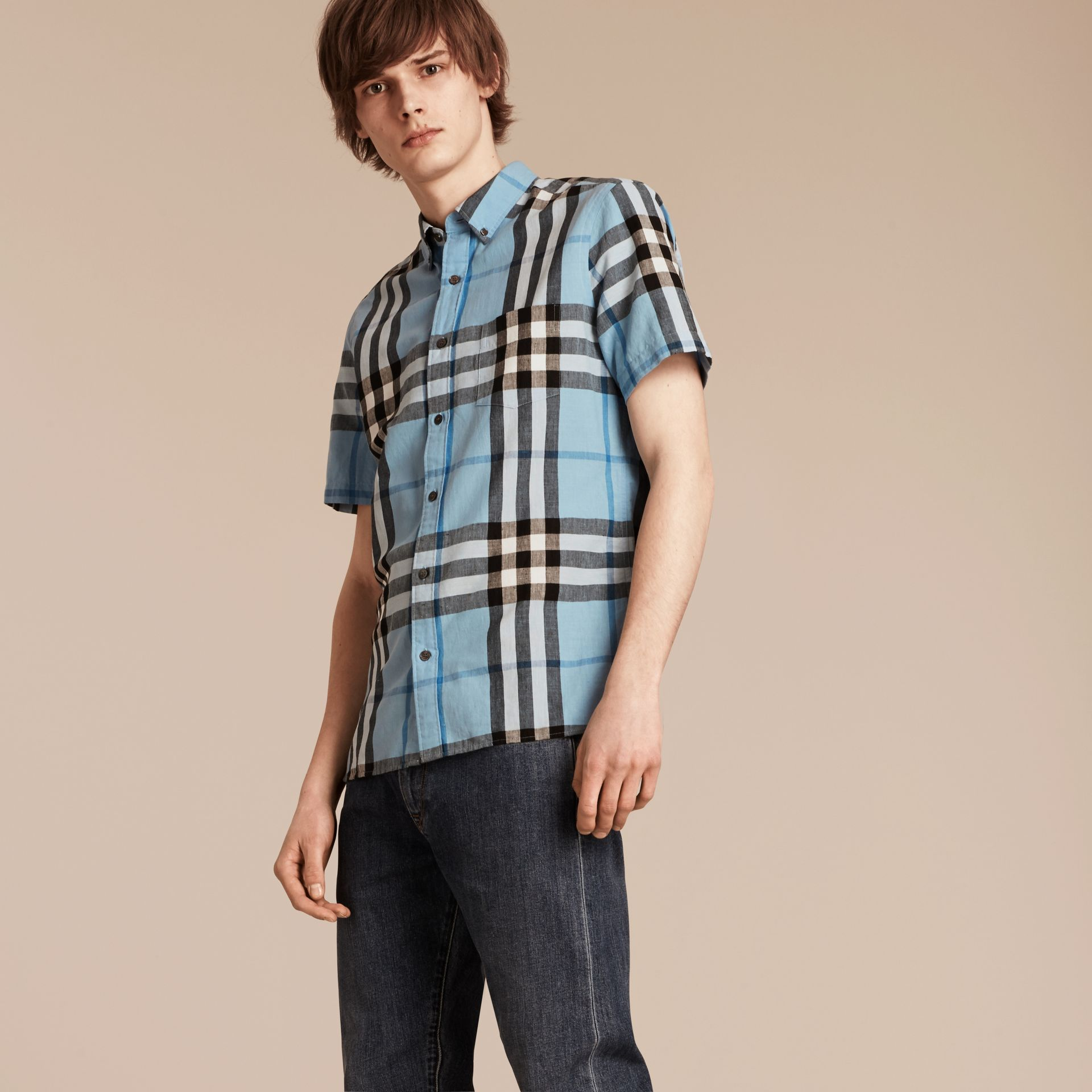 Short-sleeved Check Linen Cotton Shirt in Pale Blue - gallery image 4