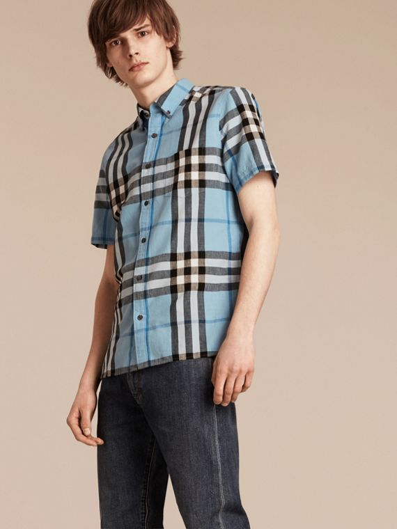 Short-sleeved Check Linen Cotton Shirt in Pale Blue - cell image 3