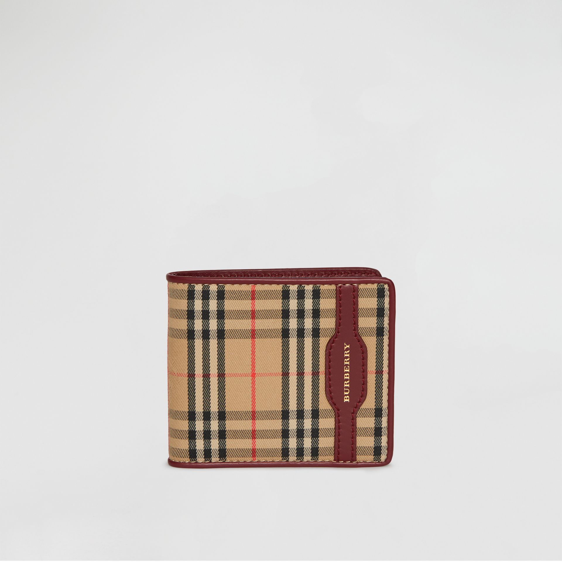 1983 Check and Leather International Bifold Wallet in Antique Red - Men | Burberry Singapore - gallery image 2