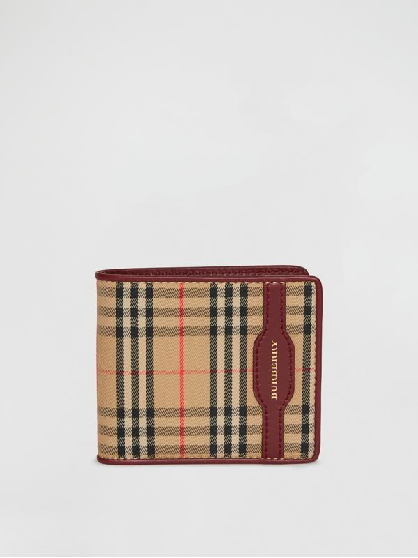 1983 Check and Leather International Bifold Wallet in Antique Red - Men | Burberry - cell image 2