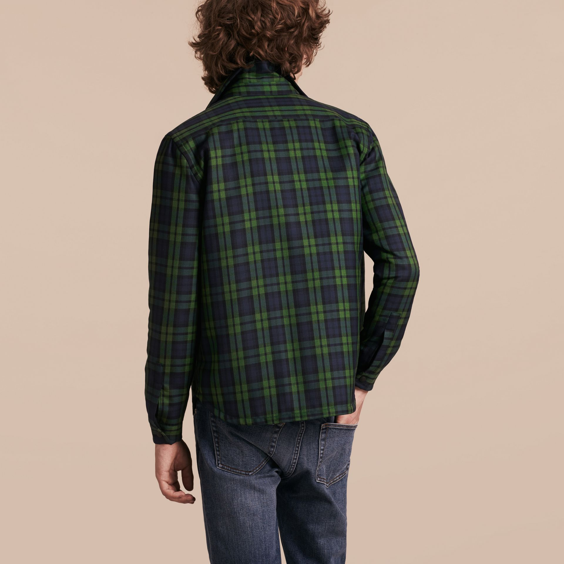 Dark forest green Tartan Wool Wadded Shirt - gallery image 3