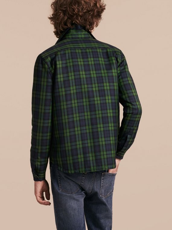 Dark forest green Tartan Wool Wadded Shirt - cell image 2