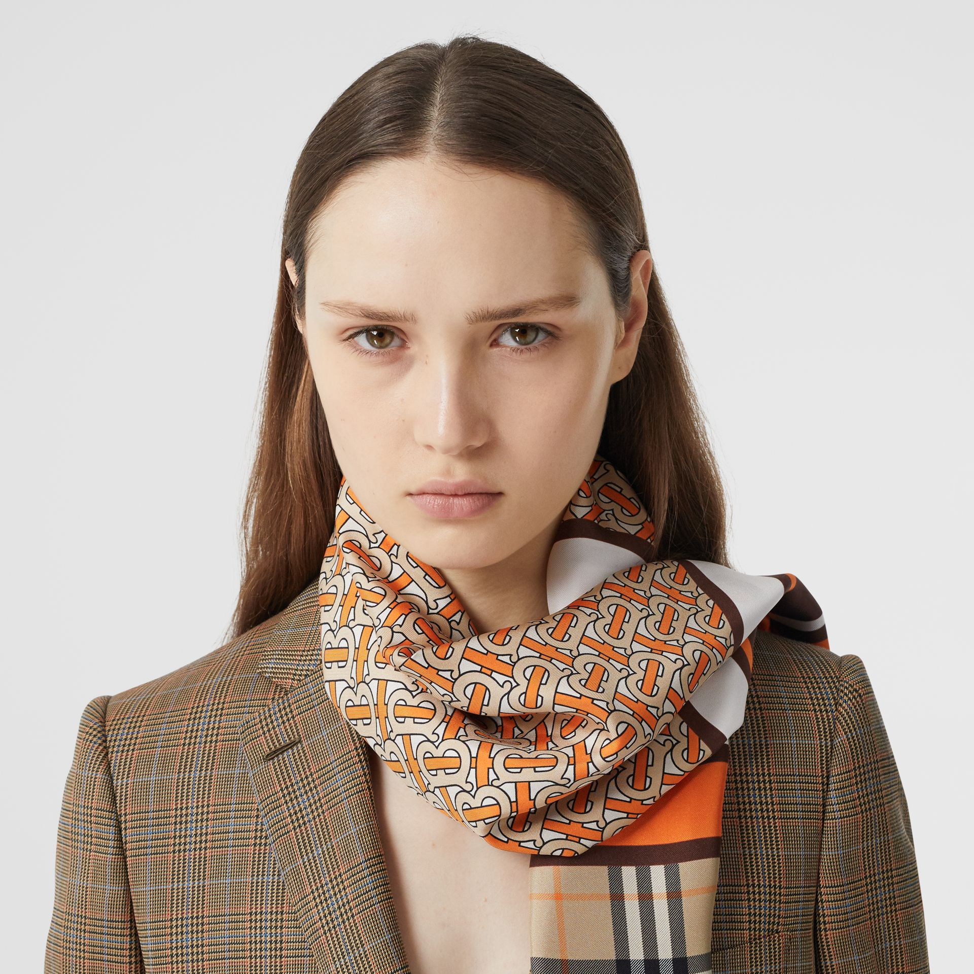Monogram, Icon Stripe and Check Print Silk Scarf in Bright Orange | Burberry United Kingdom - gallery image 2
